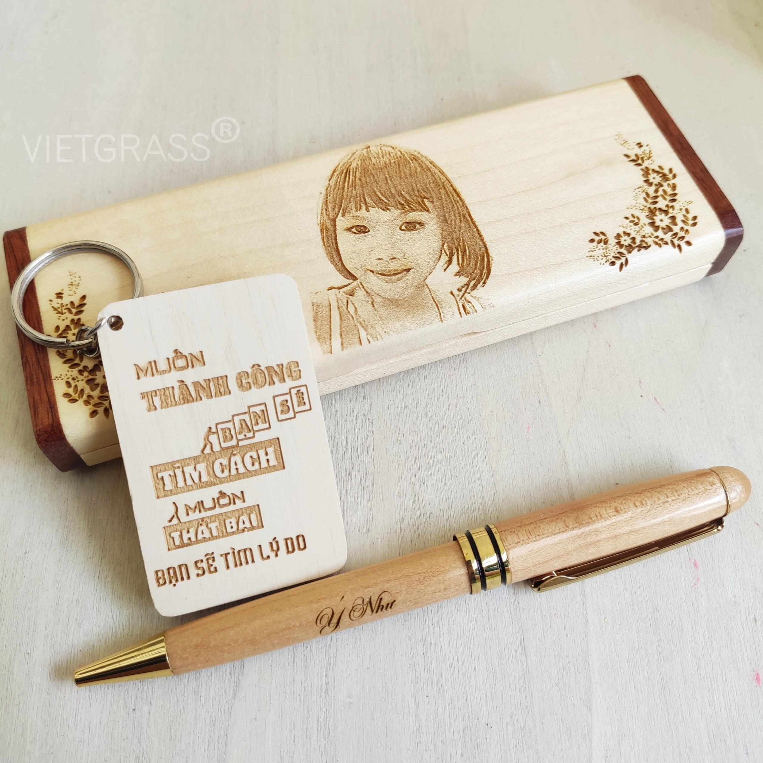 Hộp bút gỗ khắc laser hình, logo